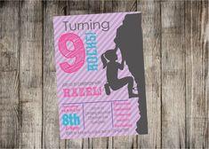 Rock Climbing Girl Birthday Party Invitation by Partyperfectdesign
