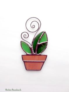 Spring Seedling flower pot 1 suncatcher Think Spring fresh home decoration. $12.00, via Etsy.