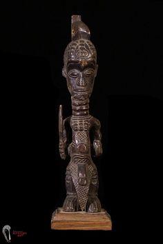 Discover African Art: Bene Lulua Figure on Custom Base #BauleTribeIvoryCoast
