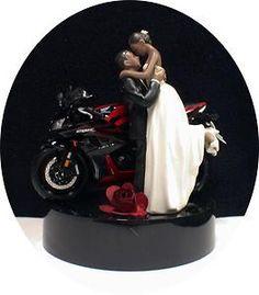 Sexy Black African American w Red Bike Motorcycle Wedding Cake Topper Groom Top | eBay