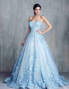 Fantastic Ball Gown Off The Shoulder Light Blue Tulle Floral Beaded ...