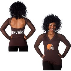 Women's Cleveland Browns Historic Logo Majestic Brown Draft Me VII T-Shirt