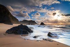 An poster sized print, approx (other products available) - Stormy evening at Adraga Beach near Cascais, Sintra, Protugal. Sun sets above the horizon while waves break on the beach. - Image supplied by Fine Art Storehouse - Poster printed in Australia Fine Art Prints, Framed Prints, Canvas Prints, Framed Wall, Wall Art, Portugal, Filter, Photoshop, Source Of Inspiration