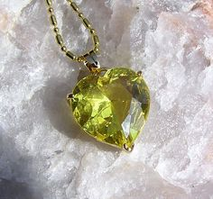 Yellow Sapphire Solitaire Heart Pendant  Vintage by SunnyCrystals, £10.75