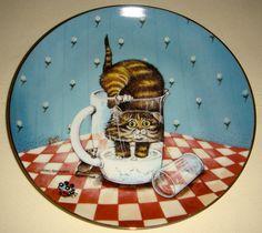 Gary Patterson Comical Cats Kitty Drinks Milk CURIOSITY Sidesplitting Plate CUTE | eBay
