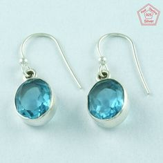 Blue Topaz Stone 925 Sterling Silver Fashionable Design Earrings E2870 #SilvexImagesIndiaPvtLtd #DropDangle