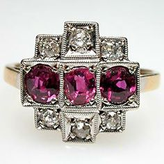Art Deco Ruby and Diamond Ring Solid 18K Gold and Platinum - EraGem