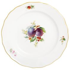 """Plate, Shape """"Neuer Ausschnitt"""", Vintage Fruitpainting, motif - plum, gold rim, ø 20 cm"""