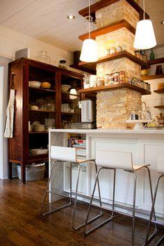 Apartment Therapy House Tour:  Shannon Schelbert's home:  LOVE beautiful (cherry?) wood unit &  brick column shelving