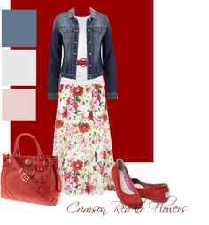 """Crimson Red & Flowers"" by hadley156799 ❤ liked on Polyvore"