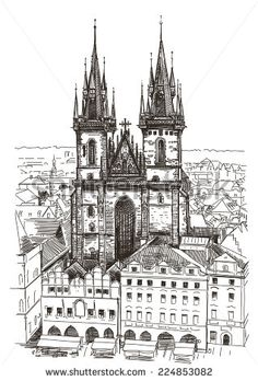 Vector drawing of Church Our Lady before Tyn in Prague, Czech Republic Prague Architecture, Architecture Sketchbook, Castle Drawing, City Drawing, Bullet Art, Mandala, Building Drawing, Church Of Our Lady, London Landmarks
