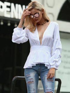 Sewing Blouse Deep V Puff Sleeve Ruffles Hem Blouse - Sewing Blouses, Spring Outfits Women, Sexy Blouse, Denim Outfit, European Fashion, Fashion 2020, Blouse Designs, Blouses For Women, Plus Size Fashion