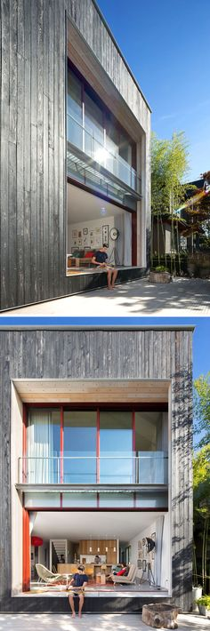 At the rear of this modern house, re-purposed white-washed boardform boards has been used as window surrounds and the soffit. Large sliding doors open the home to the backyard patio.