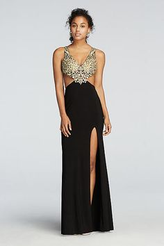Beaded Cut Out Prom Dress with Side Slit Skirt 573362