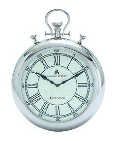 "Modern 14"" Silver Stop Watch Pocket Time Piece Wall Clock ""London"" Decor"
