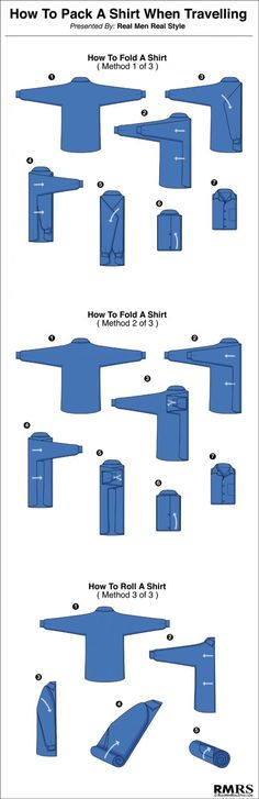 The Right Way To Pack A Dress Shirt - 3 Ways To Fold A Shirt Infographic #ArtieBobs #MensFashion