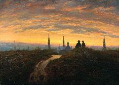 Carl Gustav-Carus (German 1789–1869) [Romanticism] Blick auf Dresden bei Sonnenuntergang, c. 1822. Kunstammlungen Chemnitz, Germany.