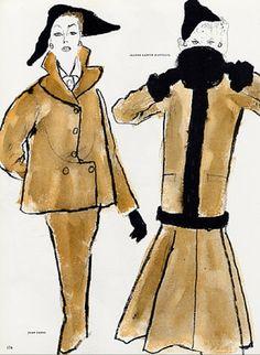 Fashion illustration by Bernard Blossac, 1952, Jean Patou [Couture], Jeanne Lanvin [Couture],