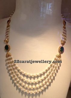 18 Carat Gold Pearls and Emerald Beads Sets