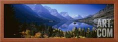 Mountains Reflected in Lake, Glacier National Park, Montana, USA Photographic Print by Panoramic Images at Art.com
