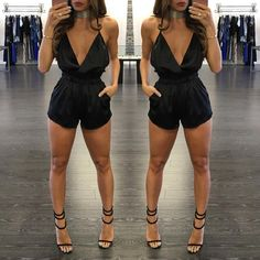 HOT SELL high quality fashion 2017 explosion models in Europe and the United States Ladies Sexy Tight Pants Halter Jumpsuit Clubbing Outfits, Summer Outfits, Fashion 2017, Daily Fashion, Dressy Casual Summer, Sac Michael Kors, Romper With Skirt, Romper Outfit, Going Out Outfits