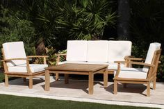 Classic Deep Seating 5 Seat Teak Set including Full Cushions – Oceanic Teak Furniture Outdoor Cushions, Outdoor Fabric, Outdoor Chairs, Outdoor Decor, Yard Furniture, Teak Furniture, Outdoor Furniture Sets, Large Square Coffee Table, Deck