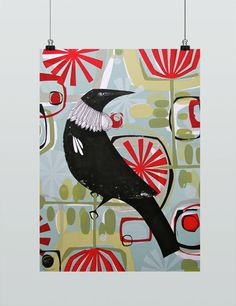 Out the Back Art Print by Holly Roach NZ Art Prints, Art Framing Design Prints, Posters & NZ Design Gifts Framed Art Prints, Painting Prints, Poster Prints, Nz Art, Bird Quilt, Maori Art, Back Art, Pattern Illustration, Geometric Art