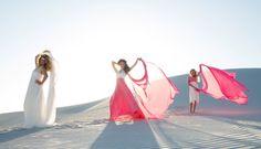 Infinity wedding dress  with delicate lace overlay, Infinity bridesmaids dress with lace top and full length pink skirt, Infinity flower girl dress with pink straps and white lace skirt. #infinitydress #wrapdress #weddings