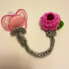 Pacifier clip, all crochet