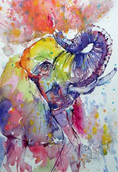 ARTFINDER: Playing elephant by Kovács Anna Brigitta - Original watercolour painting on high quality watercolour paper. I love landscapes, still life, nature and wildlife, lights and shadows, colorful sight. Watercolor Images, Watercolor Canvas, Watercolor Animals, Watercolor Paintings, Elephant Watercolor, Abstract Paintings, Art Paintings, Animal Paintings, Animal Drawings
