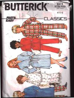 Butterick Sewing Pattern 6974  Girl's/Boy's Robe, Top, Pants  Size:  4-5-6  Used