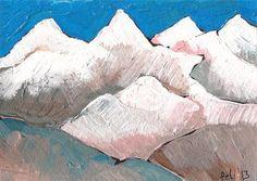 ACEO ORIGINAL -White Mountains - Landscape - original artwork acrylic painting