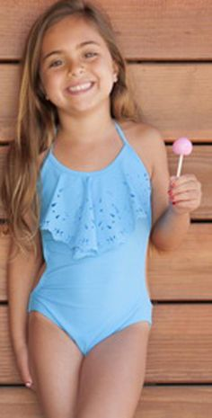 c480b673b 2014 Kid's Blue The PilyQ Julia Blue kid's swimsuit is so trendy! It has the  flutter detail at front with the laser cut outs. This blue girls' swimsuit  has ...