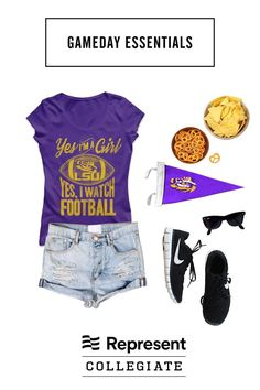You know football isn't just for the boys.  Complete your LSU game day outfit with this super soft tee.  Designed and printed for you in Los Angeles, CA!   represent.com/college