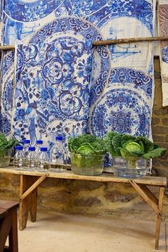 Babylonstoren | Delft-inspired linen tablecloths