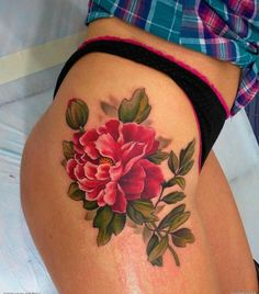 Peony tattoo...this is awesome. I would love it in a lighter pink and a little more of a watercolour look on my thigh.