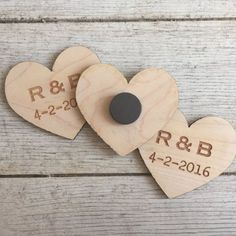 Wood Heart Magnets (Set of 50) Wedding Favors Personalized Engraved guests rustic bridesmaids groomsmen christmas birthday event