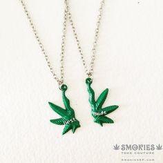 BEST BUDS Marijuana Necklace, marijuana jewelry , best friends, BFF, leaf 420 weed cannabis hemp necklace cannabis on Etsy, $30.00