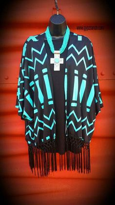 Castaway Black and Turquoise Cross Fringe Cardigan - Also in Plus Size