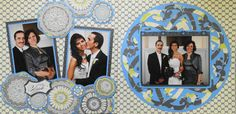 Wedding Scrapbook Page - Her Side - 2 Page wedding layout of the Bride's family with round lacy flowers - from Wedding Album 1