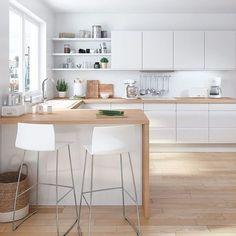 Open Kitchen And Living Room, Loft Kitchen, Kitchen Room Design, Modern Kitchen Design, Kitchen Layout, Home Decor Kitchen, Kitchen Interior, New Kitchen, Home Kitchens