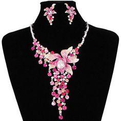 Designer Pink Cascade Boho Pageant Cocktail Jewelry Sets for Women SKU-10801334