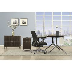 """Astoria Two-Tier 60""""W L-Desk with Reversible Return and Lateral File   National Business Furniture"""