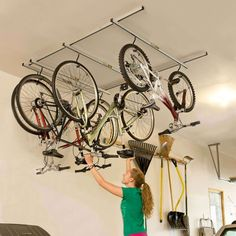 Hanging bicycles from the rafters is a great way to save garage space. But even hanging bikes can ta... - Provided by The Family Handyman