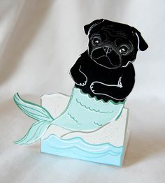 Brighten up your desk with this adorable little piece of 3D art!  With this listing, youll get one black mermaid Pug desk doll package - ready for