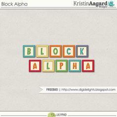 Quality DigiScrap Freebies: Block Alpha freebie from Kristin Aagard Designs
