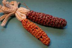 Crochet fall Indian Corn. Free pattern. Easy to make. (Great on a fall door wreath!)♥Enjoy!