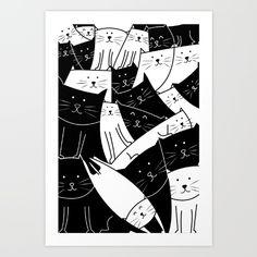 Black and White Cute Cartoon Happy Kawaii Cats Art Print Cat Art Print, Kawaii Cat, Kids Room Design, Cute Cartoon, Room Ideas, Art Prints, Black And White, Cats, Illustration
