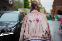 stockholm fashion week street style | velvet jacket bomber | @Katya Guseinova