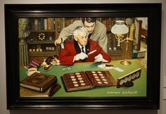 """A framed print of """"The Collector"""" by Norman Rockwell. This Norman Rockwell print is an offset lithograph. The original """"The Collector"""" was commissioned by The Franklin Mint Collectors Society in Norman Rockwell Art, Small Town America, Franklin Mint, Coin Collecting, Art Auction, Black Wood, American Art, Oil On Canvas, Framed Prints"""